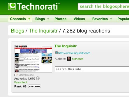The Inquisitr: Blog Reactions on Technorati